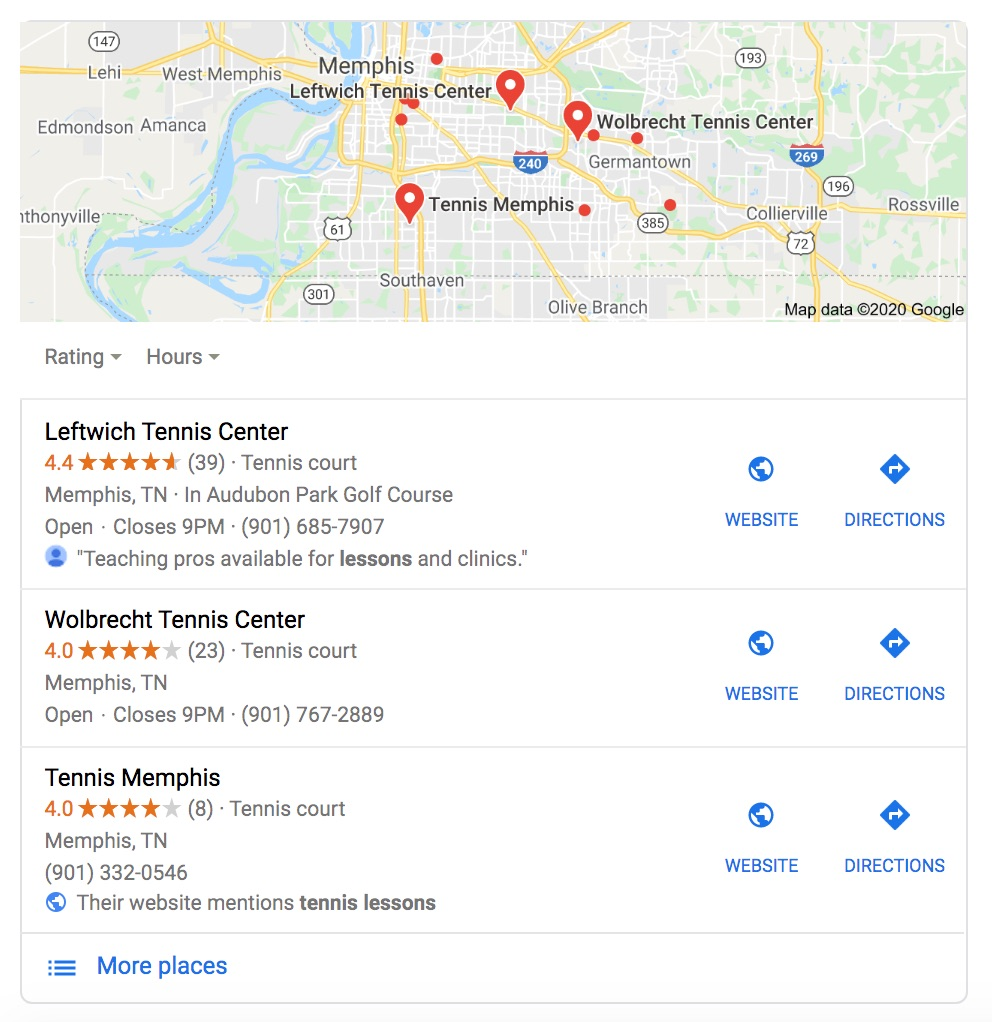 Google Maps search for Tennis centers in Memphis